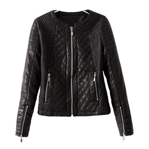 Fancy Fashionable Style Long Sleeves Solid Color Zipper Women's Faux Leather Jacket