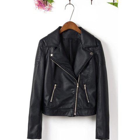 Shops Tailored Collar Solid Color Zipper Fashionable Style Women's Faux Leather Jacket