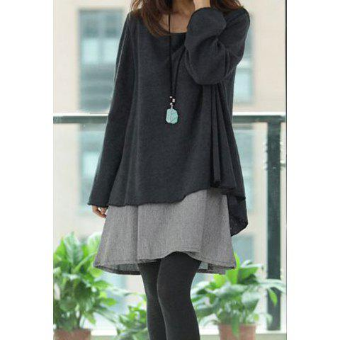 Long Sleeves Scoop Neck Asymmetrical Hem Ruffles Plus Size Asian Maternity Womens Twinset DressWOMEN<br><br>Size: M; Color: DEEP GRAY; Style: Casual; Material: Cotton; Silhouette: A-Line; Dresses Length: Knee-Length; Neckline: Round Collar; Sleeve Length: Long Sleeves; Pattern Type: Solid; With Belt: No; Season: Fall,Winter; Weight: 0.309KG; Package Contents: 1 x Dress       1 x Blouse;
