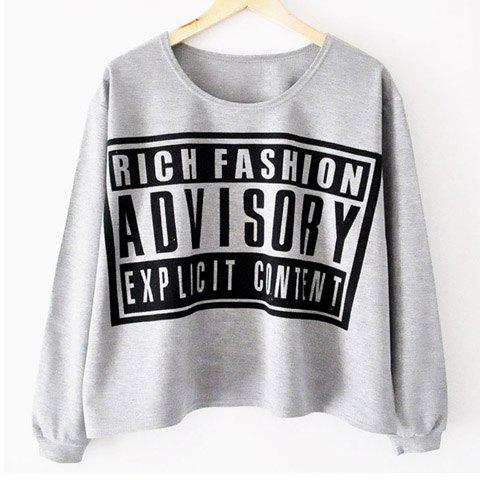 Trendy Letter Print Long Sleeves Casual Style Cotton Blend Women's T-Shirt