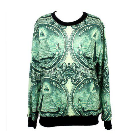 Buy Long Sleeves Round Neck Greenback Pattern Edgy Women's Sweatershirt