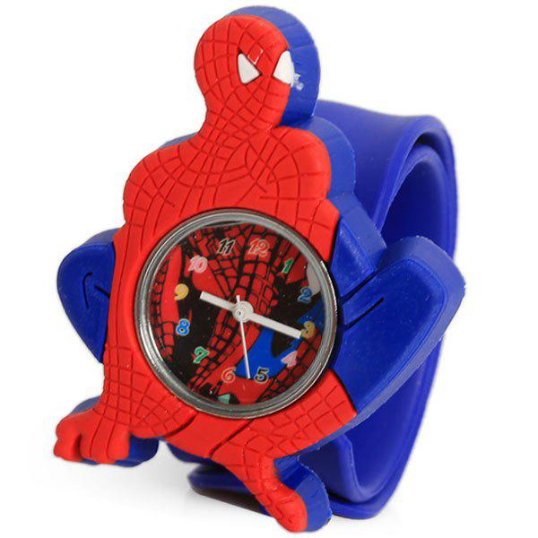 Hot Adorable Pat Silicone Strap Quartz Wrist Watch with Cool Spider-man Shaped Case - Blue