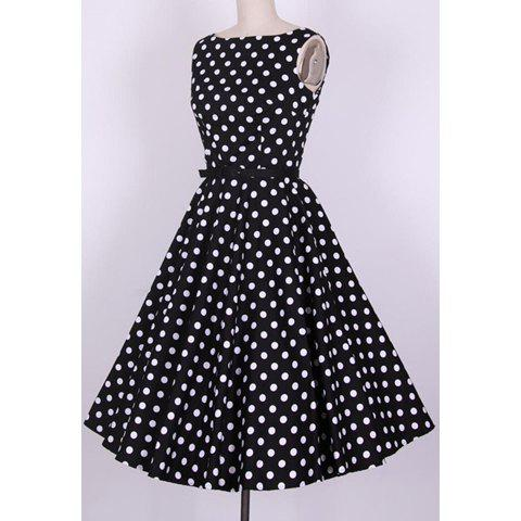 Trendy Vintage Scoop Neck Pleated Polka Dot Sleeveless Country Black Dress For Women