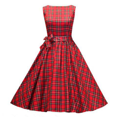 Discount Vintage Scoop Neck Pleated Checked Sleeveless Red Country Tartan Dress For Women