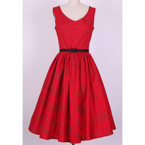 Sale Vintage V-Neck Polka Dot Print Pleated Sleeveless Rockabilly Dress For Women