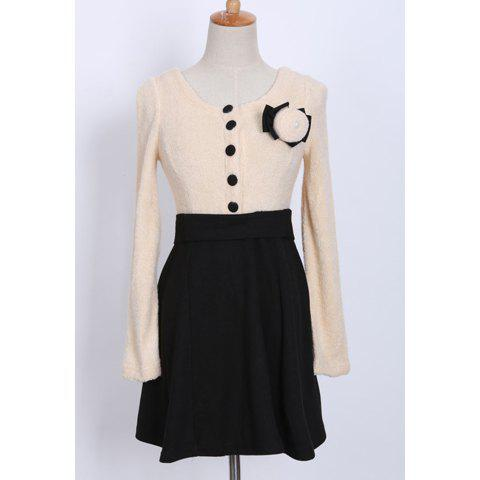 Shop Chic Style Scoop Collar Color Matching Beam Waisted Long Sleeve Women's Dress