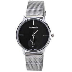WoMaGe Quartz Watch with Strips Indicate Steel Watch Band for Women - Black -