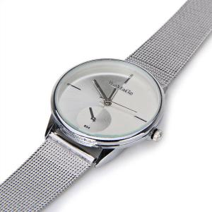 WoMaGe Quartz Watch with Strips Indicate Steel Watch Band for Women - White -