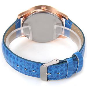 No.99653 Quartz Watch with Numbers and Dots Indicate Leather Watch Band Flower Pattern Dial for Women - Blue -