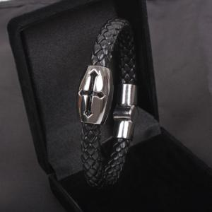 Hollow Cross Embellished Knitting Design PU Leather Cuff Bracelet