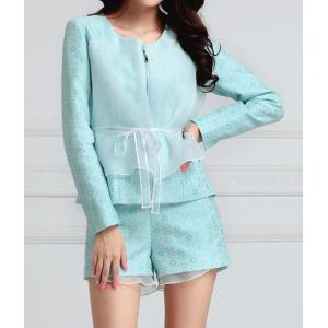 Elegant Scoop Neck Mesh Splicing Polyester Women's Jacket