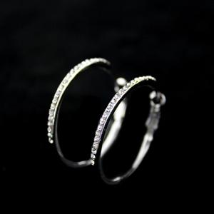 Pair of Rhinestoned Alloy Hoop Earrings