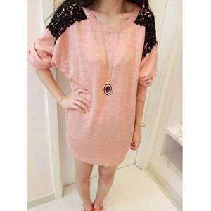 Long Sleeves Scoop Neck Lace Embroidered Stitching Long Sections Asymmetrical Hem Loose-Fitting Casual Women's Sweater - Pink - One Size