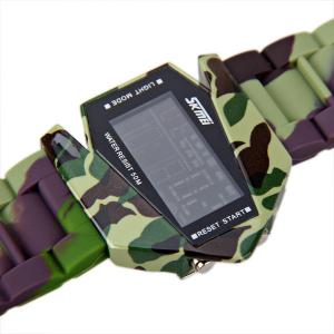 Skmei Waterproof Rubber Band Watches with Blue Numbers Hour Marks Special Shaped -