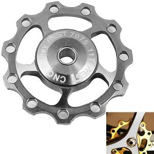 1PCS AEST A-06 Aluminium Jockey Wheel Rear Derailleur Pulley for Shimano and SRAM - Silver - SILVER