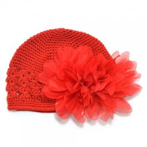Cute Mesh Design Chiffon Flower Warm Crochet Beanie Hat For Kids - Red - One Size