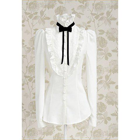Outfit Vintage Stand Collar Bow Floral Embroidery Flouncing Puff Sleeve Women's Shirt