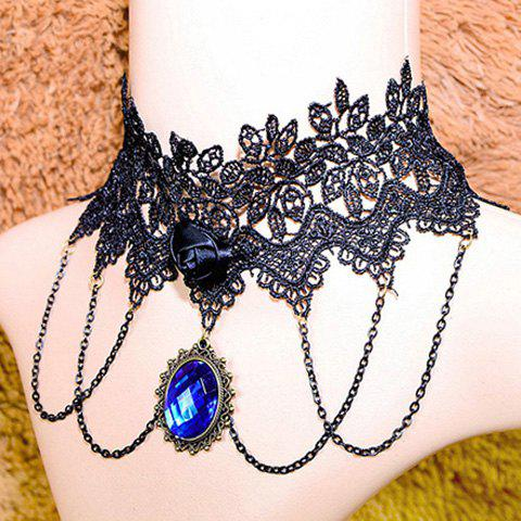 Best Rose Design Faux Gem Lace Necklace - AS THE PICTURE  Mobile