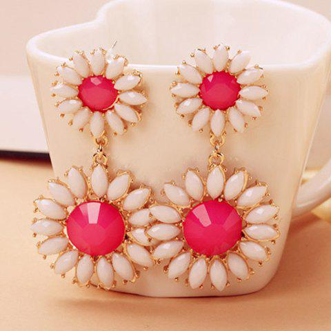 Trendy Colored Daisy Shape Drop Earrings