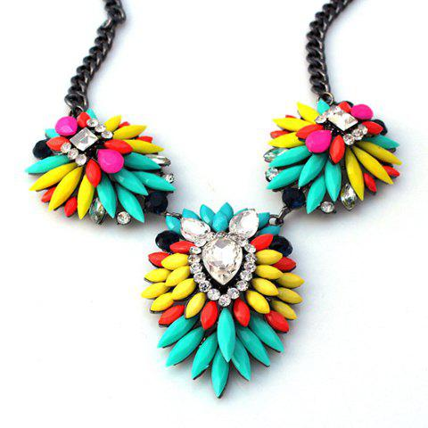 Online Fashion Iridescent Color Faux Gemstone Embellished Pendant Necklace For Women COLORMIX