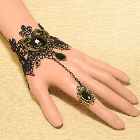 Unique Vintage Faux Gemstone Embellished Carved Design Wide Lace Charm Bracelet For Women