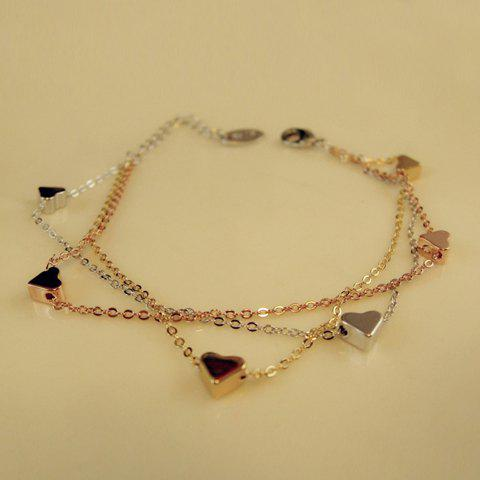 Unique Graceful Heart Shape Multi-Layered Alloy Charm Bracelet For Women
