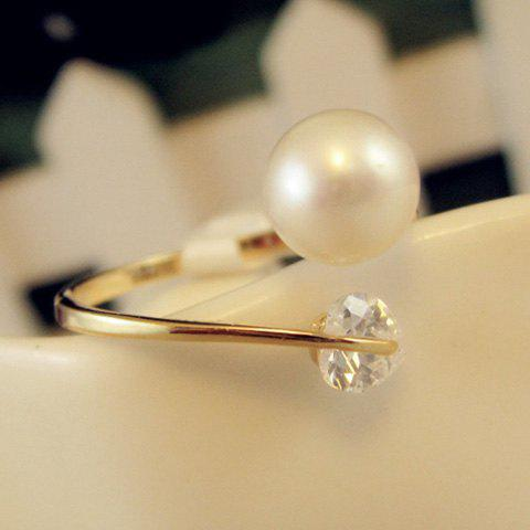 Trendy Elegant Heart Zircon Design Faux Pearl Ring For Women