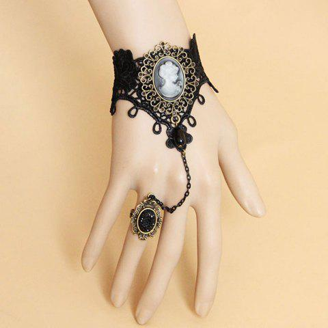 Chic Vintage Queen Print Design Lace Bracelet With Rhinestoned Ring For Women AS THE PICTURE ONE SIZE