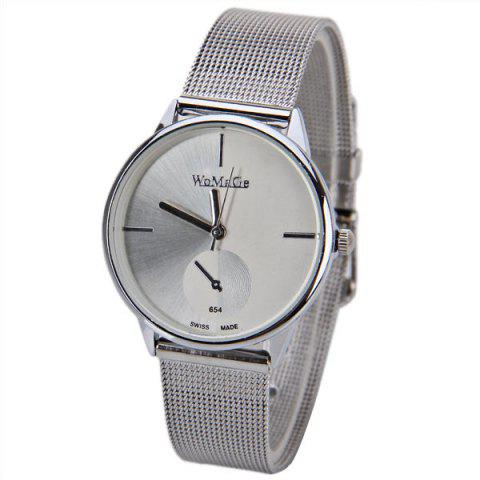 Discount WoMaGe Quartz Watch with Strips Indicate Steel Watch Band for Women - White