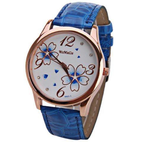 Best No.99653 Quartz Watch with Numbers and Dots Indicate Leather Watch Band Flower Pattern Dial for Women - Blue