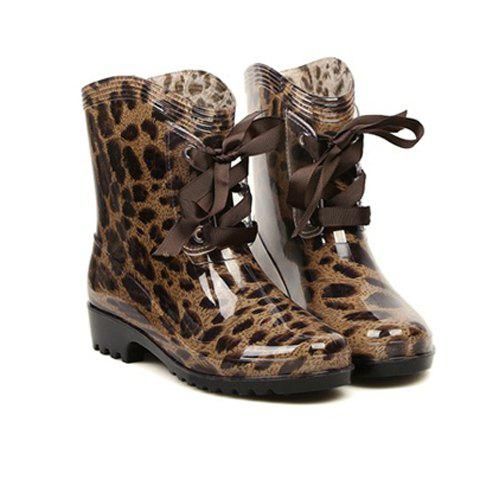Lace Up and Round Toe Design Rain Boots For Women