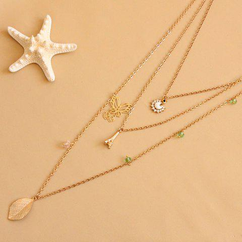 Fancy Leaf Butterfly Tower Swan Sweater Chain