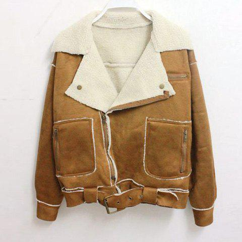 Vintage Lapel Collar Zipper Up Belted Long Sleeves Women's Jacket - Khaki - One Size