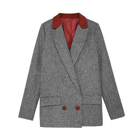 Buy Vintage Lapel Collar Color Matching Long Sleeves Women's Long Blazer