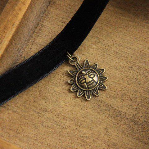 Fancy Chic Style Sun Shape Design Velvet Choker Necklace For Women BLACK