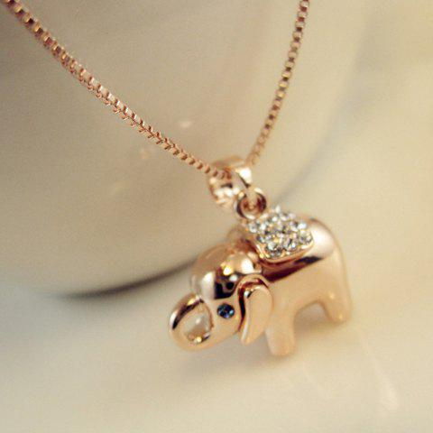 Shops Fashion Cute Diamante Elephant Pendant Alloy Necklace For Women