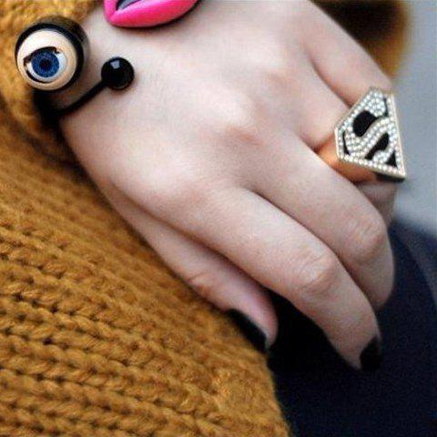 Fancy Sweet Rhinestoned Letter S Pattern Design Triangle Ring For Women - ONE SIZE AS THE PICTURE Mobile