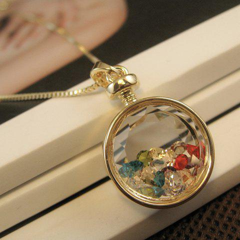 Chic Faux Crystal Round Pendant Necklace
