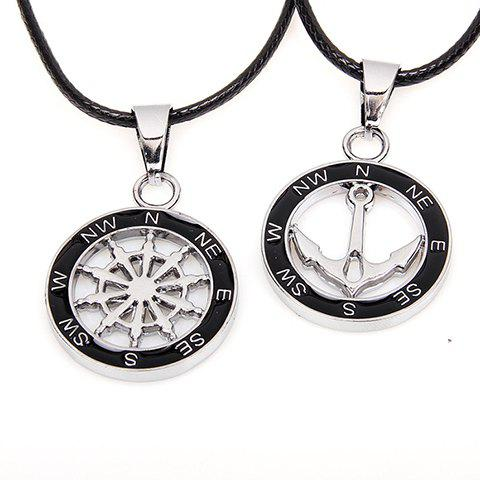 Fancy 2PCS of Simple Anchor and Helm Embellished Round Pendant Necklaces For Lovers - BLACK  Mobile