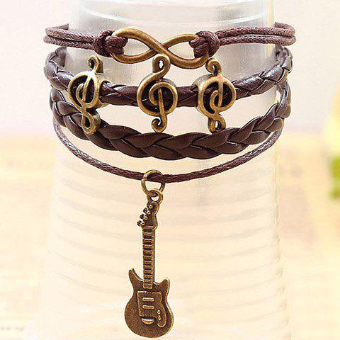 Note Embellished Guitar Pendant Multi-Layered Charm Bracelet - BROWN