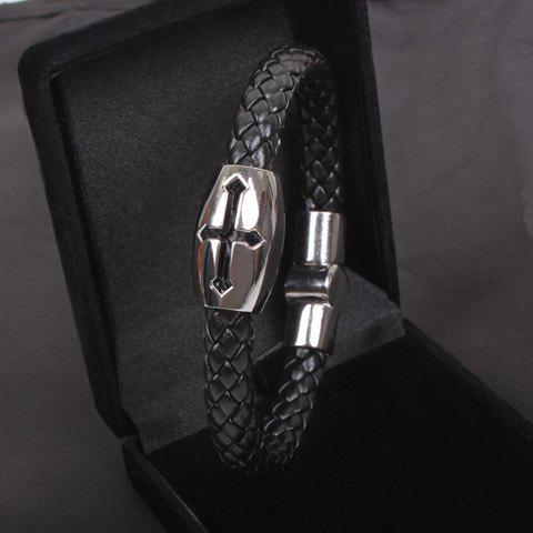 Hollow Cross Embellished Knitting Design PU Leather Cuff Bracelet - Black
