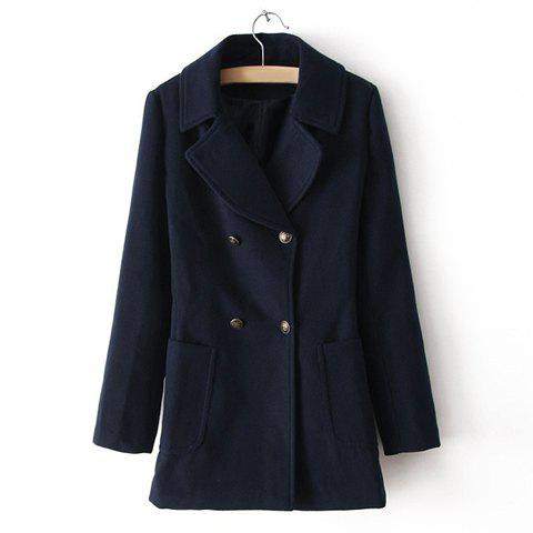 Online Vintage Notched Collar Double-Breasted Pockets Design Long Sleeves Women's Coat