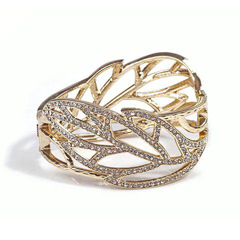 Latest Rhinestoned Openwork Leaf Shape Alloy Bracelet - AS THE PICTURE  Mobile