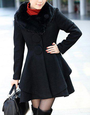 Outfit Stunning Style Long Sleeves Worsted Rhinestone Buttons Decoration Women's Coat