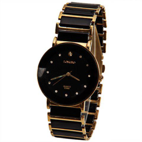 Unique Longbo Quartz Watch with Diamond Dots Indicate Steel and Plastic Watchband for Women