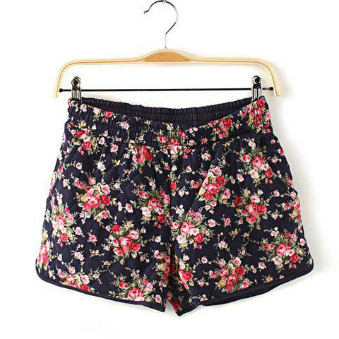 Fashion Casual Floral Print Cotton Shorts For Women