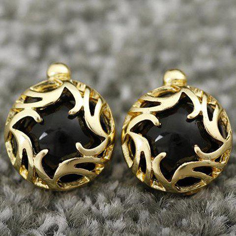 New Pair Of Sweet Flower Vine Carving Round Faux Gem Stud Earrings For Women