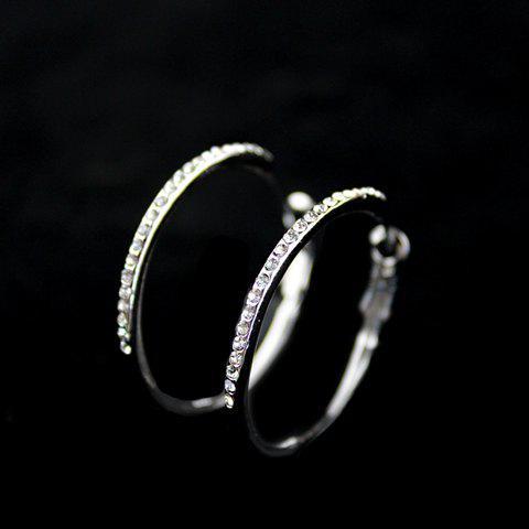 Buy Pair of Rhinestoned Alloy Hoop Earrings