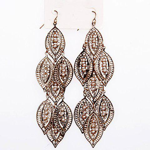 Pair of Retro Faux Pearl Embedded Leaf Shape Earrings - COLOR ASSORTED