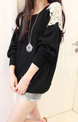 Hot Long Sleeves Scoop Neck Lace Embroidered Stitching Long Sections Asymmetrical Hem Loose-Fitting Casual Women's Sweater